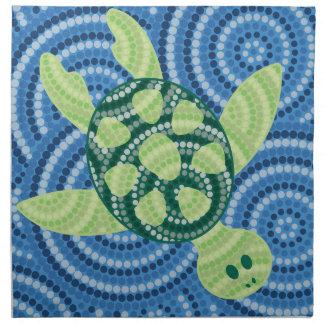原生のカメの点の絵画 ナプキンクロス