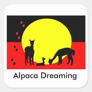 原生のステッカーを夢を見るアルパカ スクエアシール