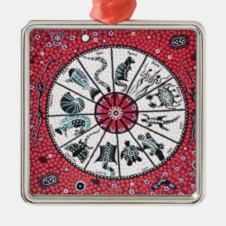原生の占星術の赤 シルバーカラー正方形オーナメント