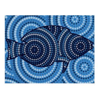 原生の魚の点の絵画 ポストカード