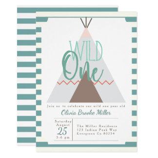 原産のTipi |の野生の1誕生会の招待 カード