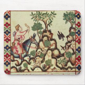 原稿からの《鳥》ハヤブサの狩り、 マウスパッド