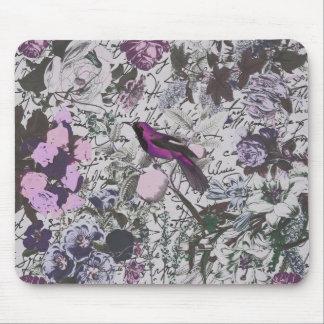 原稿が付いているヴィンテージの紫色の鳥そして花柄 マウスパッド