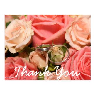 原稿のタイプ及びピンクのバラ|のサンキューカード はがき