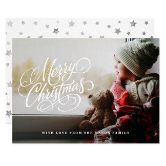 原稿の上敷のクリスマスの休日の写真 カード
