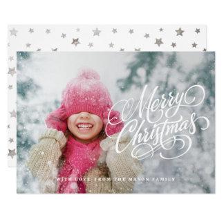 原稿の上敷のクリスマスの写真カード カード