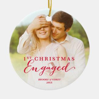 原稿の初めてのクリスマスの婚約したな休日の写真 陶器製丸型オーナメント