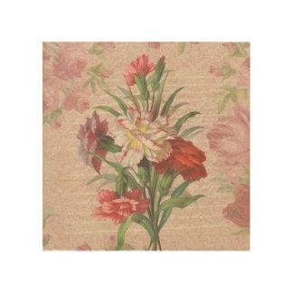 原稿の花柄の背景が付いているヴィンテージのカーネーション ウッドウォールアート