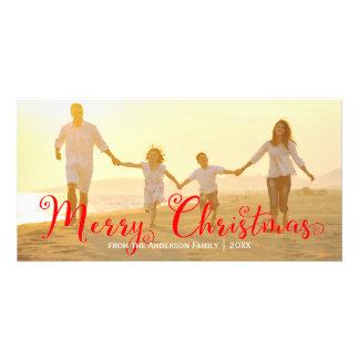 原稿の赤いメリークリスマス-写真カード カード