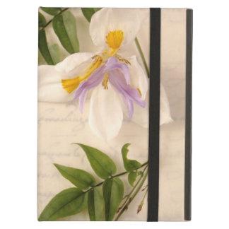 原稿のiPadのkickstandの場合のユリそしてつる植物 iPad Airケース