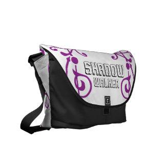 原繊維の象牙色の(紫色の)メッセンジャーバッグ クーリエバッグ