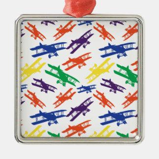 原色のヴィンテージの複葉機の飛行機パターン メタルオーナメント