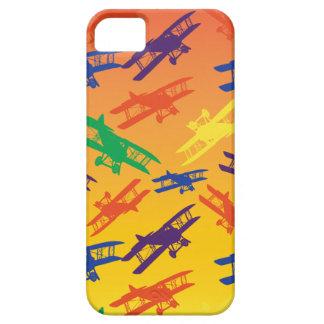 原色のヴィンテージの複葉機の飛行機パターン iPhone 5 Case-Mate ケース