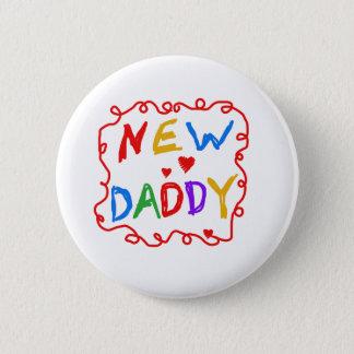 原色の文字の新しいお父さん 5.7CM 丸型バッジ