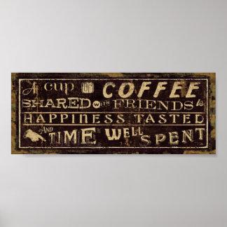 友人と共有されるコーヒー ポスター