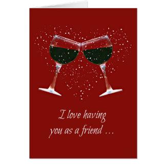 友人のためのおもしろいなワインのハッピーバースデーカード カード
