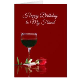 友人のためのワインのバースデー・カード グリーティングカード