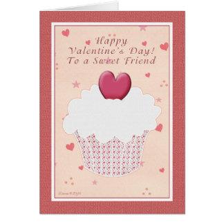友人のハッピーバレンタインデー-ハートのカップケーキ カード