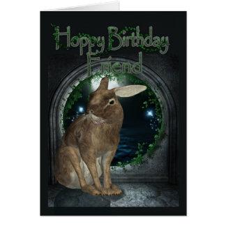 友人のバースデー・カード-ウサギとのホップの豊富な誕生日 カード