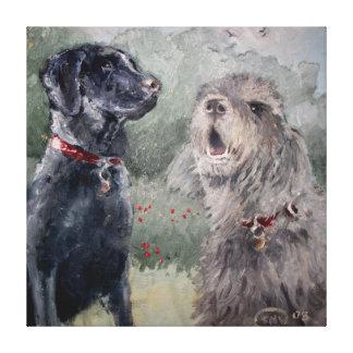 友人のベスト。 ラブラドール及びカワウソ猟犬 キャンバスプリント