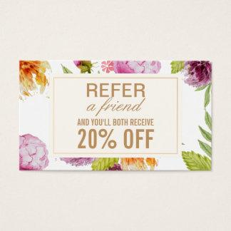 友人の美容院の花の紹介カードを参照して下さい 名刺