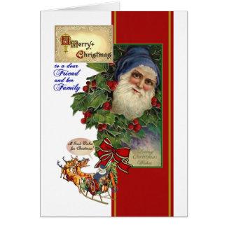 友人及び彼女の家族-ヴィンテージサンタのためのクリスマス カード