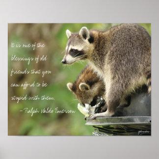 友人及び恵みの友情の引用文のアライグマ14x11 ポスター