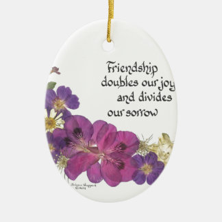 友情および花 セラミックオーナメント