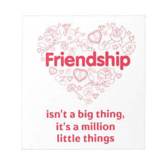 友情は設計されている百万の事のかわいい引用文です ノートパッド