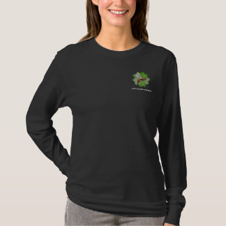 友情は黒ロゴのジャージーのフード付きスウェットシャツの庭いじりをします Tシャツ