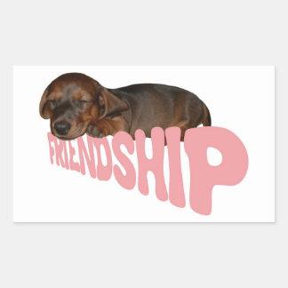 友情子犬/犬は人で親友、ピンクです 長方形シール