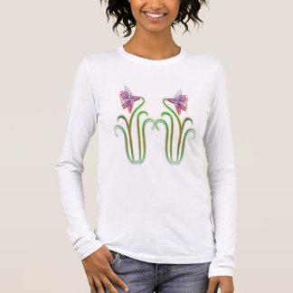 双生児によってはTシャツジャージー99のイラストレーションの芸術が開花します 長袖Tシャツ