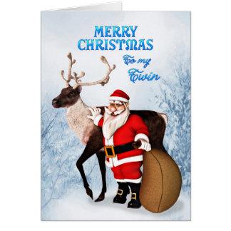 双生児のためのサンタおよびトナカイのクリスマスカード カード
