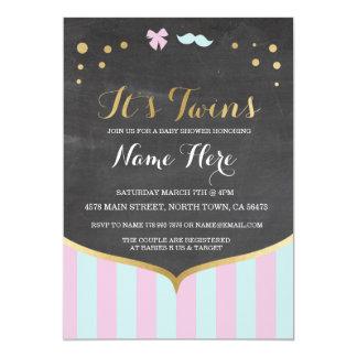 双生児のベビーシャワーのピンクの組合せの青い女の子の男の子の招待 カード