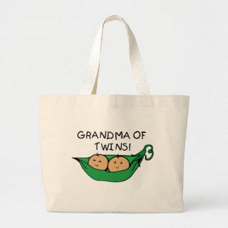 双生児のポッドの祖母 ラージトートバッグ