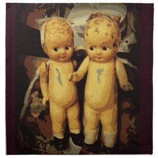 双生児のヴィンテージの人形 ナプキンクロス