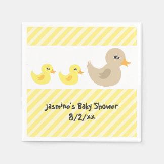 双生児の男女兼用なアヒルのストライプのなベビーシャワー スタンダードカクテルナプキン