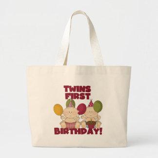 双生児の第1誕生日-男の子のTシャツおよびギフト ラージトートバッグ