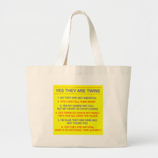 双生児の質問兄弟の黄色 ラージトートバッグ