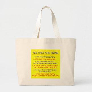 双生児の質問同一の黄色 ラージトートバッグ