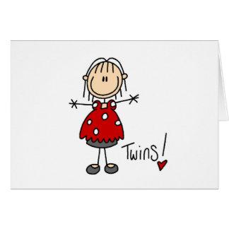 双生児を期待する棒の姿 グリーティングカード