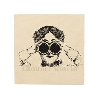 """双眼鏡を持つ""""驚異世界""""の-女性 ウッドウォールアート"""