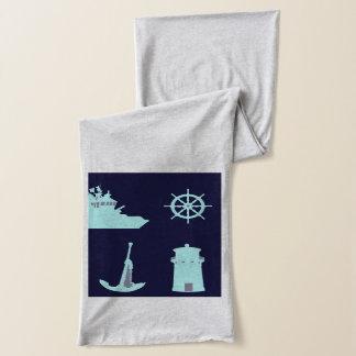 双眼鏡、いかり、船の舵輪および灯台 スカーフ