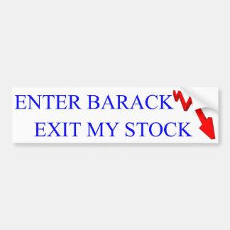 反オバマ: バラクの出口を私の在庫書き入れて下さい バンパーステッカー