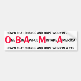 反オバマ- 1つの大きくひどい間違いアメリカ バンパーステッカー