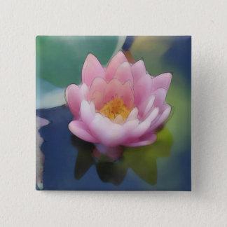 反射のキャンバスプリントが付いているはすピンクの花 5.1CM 正方形バッジ