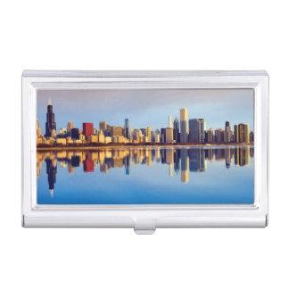 反射のシカゴのスカイラインの眺め 名刺入れ