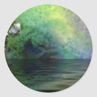 反射の青緑の池 ラウンドシール