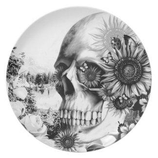 反射。 花の景色の頭骨 プレート