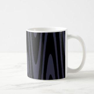 反映の池の波状のマグの黒 コーヒーマグカップ